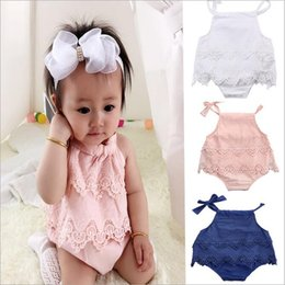 Wholesale Baby Onesies Girl Pink - Ins Baby Girls Lace Hollow triangles Rompers climbing suits Infant Toddle One Piece Clothes Kids Onesies baby Jumpsuits Children Clothing
