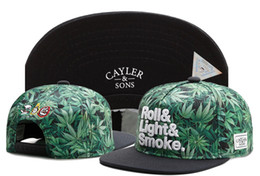 Wholesale Light Blue Flat Caps - 2017 wholesale Cayler & Sons Roll&Light&Smoke. leaf Women Men hip hop snapback hats Gorras sport adjustable baseball caps Casquette