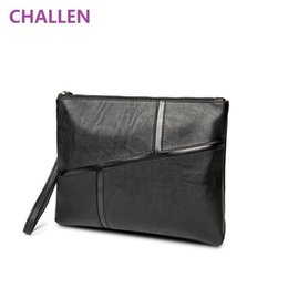 Wholesale Genuine Leather Envelope Bag - New Casual genuine leather Men's Envelope Clutch bag Business Men Clutch Bags Solt Leather Large Capacity Hand Bags for Male