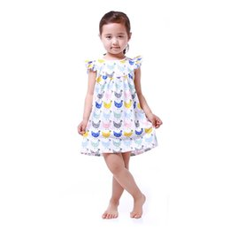 Wholesale Toddlers Blue Summer Dresses - Baby Girls Dress Clothes Summer Chicken Pattern Baby Clothes Dress Toddler Outfit 5T Girls Party Dress
