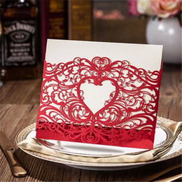 Wholesale Red Invitation Paper - Wholesale-5pcs lot Romantic Heart Style Laser Cut Red Gold Paper with Hollow Flower Wedding Invitation Card Event & Party Decoration