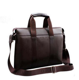 Wholesale Black Polo Large - POLO Newest Vintage Men's Briefcases PU Leather Handbag Cross body bag Large Capacity Men's Business Bag Black Brown Bags