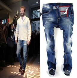 Wholesale Luxury Men Slim Straight Trousers - Men Designer Luxury Jeans Cowboy Slim Denim Trousers Regular Fit Denim Causal Pants Men Biker Jeans Washed Blue Jeans For Men J161203