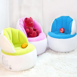 Wholesale Wholesale Kid Furniture - Kids Flocking Inflatable Sofa Lazy Sofa Single Foldable Bedroom Furniture Kids Type+Repair Package + Foot Pump Air Lounger Chair KKA2104