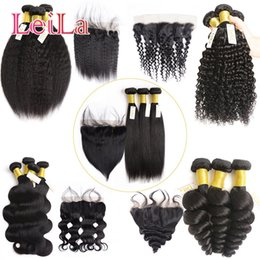 Wholesale Silky Natural Black Hair - Brazilian Malaysian Virgin Hair 13x4 Lace Frontal Closure With 3 Bundles Silky Straight Peruvian Unprocessed Virgin Human Hair With Frontal