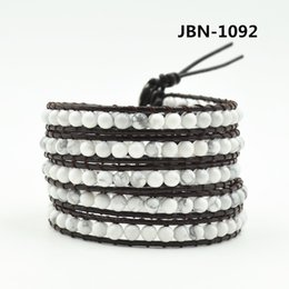 Wholesale 14k gold beads 4mm - Wholesale- New boho Style weave leather multilayer bracelet 4mm White turquoise beads bracele Christmas gift JBN-1092