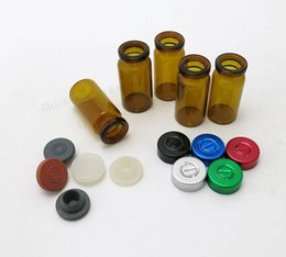 Wholesale Aluminum Vials - 8ML Amber Glass Vials Jars With Aluminum Filip Off Cap 8cc Mini Transparent Essence GlassContainer