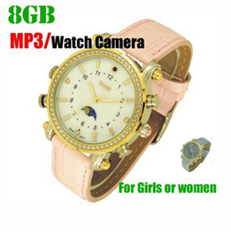Wholesale Waterproof Watch Mp3 Player - Woman Lady Girl Watch spy camera 16GB with MP3 player HD waterproof hidden pinhole camera mini audio video recorder Female Wrist watch DVR