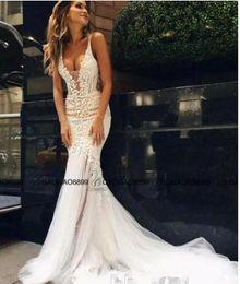 Wholesale High Couture Wedding Dresses - Pallas Couture 2017 Mermaid Beach Wedding Dresses Lace Floral Long Train Custom Make V-neck Full length Fishtail Bridal Gowns