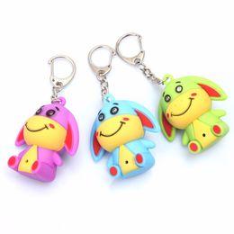 Wholesale Luminous Keychain - New 3 color cartoon donkey LED luminous keychain pendant Flashlight bag car key pendant creative gift free DHL wholesale