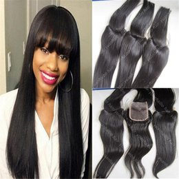 Wholesale Hair Bangs Pieces - Hot Selling 8A human hair lace closure 3.5x4 freestyle top closure pieces 130 density indian straight closure with bangs