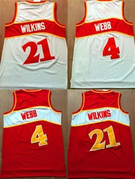 Wholesale Basketball Jersey Material - Basketball Jerseys 2017 Throwback 21 Dominique Wilkins Jersey Team Red White 4 Spud Webb Retro Shirts Uniforms Rev 30 New Material High Qual