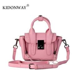 Wholesale Girls Pink Purse For Kids - Wholesale- KIDONWAY Christmas Gift Party Purses Metallic Color Philip Lim Mini Bag for Women Kids Fashion Shoulder Bags Handbags for girls