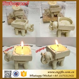 Wholesale Wholesale Small Cup Holder - Resin Elephant Candle Holder Teal Light Holder Candlestick Lucky Elephant Wedding Favors Free shipping 50pcs wholesale