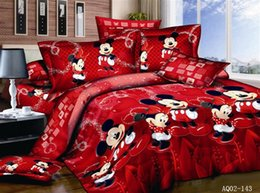 Wholesale Minnie Mouse Queen Size Bedding - Wholesale- 100% Cotton bed linen 3d mickey mouse bedding sets minnie kids duvet cover king queen twin size bedspread Red happy bedding 4PCS