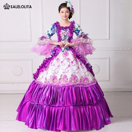 Wholesale Costume Theatre - 2017 Brand New Purple Floral Printed Rococo Marie Antoinette Dresses Sothern Belle Masquerade Ball Costumes Theatre Clothing