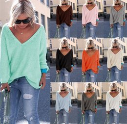Wholesale Ladies Plus Size Cardigans - V neck Sweater Long Cardigan Women Sweater Autumn Winter Lady Knitted Cardigans Tops Plus Size Casual Women Knitted Sweaters