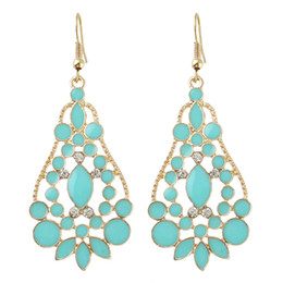 Wholesale Enamel Fashion Jewelry Earrings - Latest Design Fashion Earrings Jewelry Enamel Water Drop Rhinestone Gold Color Hollow Out Graceful Alloy Earrings for Women