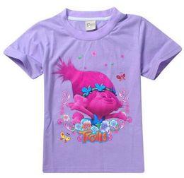 Wholesale Childrens Animal T Shirts - Fashion New Design T Shirt for kids Trolls T-shirt Short Sleeve Cartoon Printed Tshirt for Girls Childrens 4-12Y