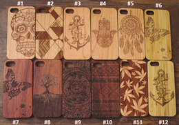 Wholesale Custom Carvings - 2017 Hot sale Nature Cherry Wood Case Phone Case For Iphone 7 7 plus 6 6s Custom Carved Real Wooden Bamboo Mobile Phone TPU Back Cover