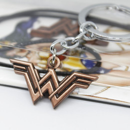 Wholesale Super Promotions - Movie Wonder Woman Super Heros Keychain for Car Superhero Silver Alloy Pendant Key Chain Ring Holder Jewelry