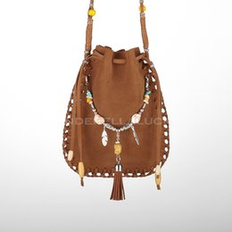 Wholesale Gypsy Chic - Wholesale- 2016 Female Real Leather Small Bag Handmade Brown Beaded Feathers Hippie Gypsy American Indian Tribal Bohemian Boho Chic Pouch