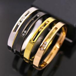 Wholesale hollow cuff bracelet - New fashion Rose Gold plated Hollow 3 Crystal Stainless Steel Love Men Women Bangle Cuff Bracelet Valentine buckle bracelets bangles