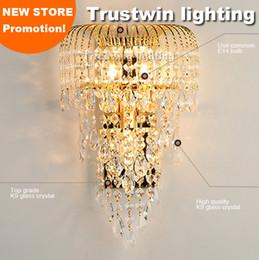 iluminação de suportes de parede Desconto Grande K9 luminária de parede luminária de cristal cristalino candelabro de cristal de ouro lâmpada de parede do vintage arandela LED opcional