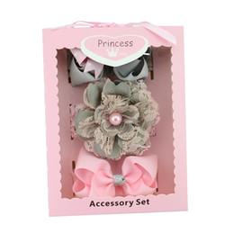 Wholesale Gift Ribbon Dots - Baby Headbands Bow Hair Clips Box Baby Girls Dot Grosgrain Ribbon Bowknot Headbands Boutique Children Hair Accessories Birthday Gift KHA240