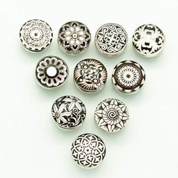 Wholesale Celtic Buttons - Wholesale- 10pcs mixed 18MM NB0494 Beauty Black Pattern Round Domes Photo Print Glass Cabochon snap button fit DIY snap bracelets
