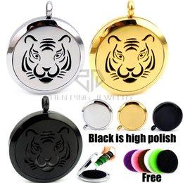 Wholesale Silver Tiger Necklaces - Round Silver,Gold color and Black Tiger (30mm) Aromatherapy   Essential Oils Stainless Steel Perfume Diffuser Locket Necklace With Chain
