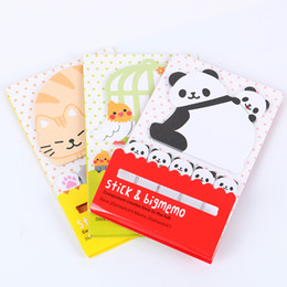 Wholesale Cute Cat Bookmarks - Wholesale- 2PCS Cute Korea Sticker Animal Cat Panda Memo Pad Notepad Bookmark Memo Flags Tab Sticky Notes Stationery Office Supplies