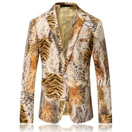 Wholesale Tiger Blazer - Men Blazer 2017 Tiger Pattern Mens Printed Blazer Coat Design Velvet Suit Jacket Casual Floral Blazers Jacket Stage Wear Singers