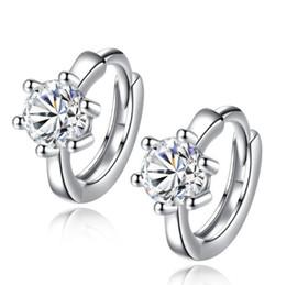 Mode femmes élégantes argent 925 Zircon Diamante strass cristal oreille manchette oreille clip boucles d'oreilles Lady robe bijoux ? partir de fabricateur