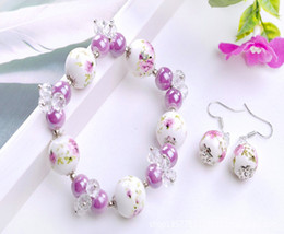 Wholesale Korean Porcelain - New national style creative ceramic beads with artificial crystal flower bracelet earrings Korean fashion influx of people suit