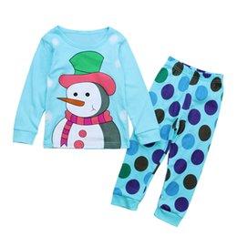 Wholesale Pajama Years - Children's Christmas Pajamas Set 2-7 Years Girl Pajamas Cartoon Snowman Pattern Kids Clothing Set Boy Sleepwear Baby Pajama