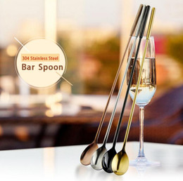 Wholesale Shakers Wholesale - 4 Color Cocktail Long Bar Spoon 304 Food Grade Stainless Steel 12 inch Bar Cocktail Shaker Wine Stirring Rod Bar Tool