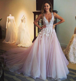 Wholesale Hot Image New - Custom Made 2018 Tulle Wedding Dresses Draped Sexy Deep V Neck New Colorful White and Pale Pink A Line Bridal Gowns Hot Selling