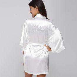 camisones de satén cortos mujeres Rebajas Al por mayor- Seda de dama de honor de seda de la manera Robe mujeres atractivas Short Satin boda Kimono robe ropa de dormir camisón vestido de mujer albornoz pijama