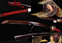Wholesale Katana Sharp Black - Black&Red Folded Steel Full Tang Blade Japanese Battle Ready Sword KATANA Sharp