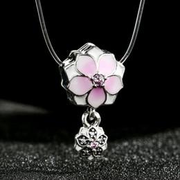 Flor de metal cuentas de esmalte online-Se adapta a Pandora Pulseras 2017 Esmalte Primavera Magnolia Bloom Charms Beads 925 Sterling-Silver-Jewelry CZ Flower Bead DIY
