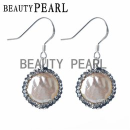Wholesale White Pearl Earrings Silver Hook - Sterling 925 Silver Hook Clear Rhinestones Pave White Freshwater Coin Pearl Earrings Women Pearl Silver Jewelry