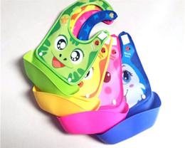Wholesale Eva Bibs - Cute Cartoon Animal Printed Baby Bibs Infant Removable Pocket Safety EVA Bib Burp Toddler Clothes Accessories