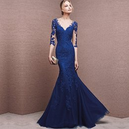 Wholesale White Lace Summer Dresses Women - Real pictures High quality royal blue mermiad evening dresses 2017 floor-length half sleeve formal evening gowns for women free shipping