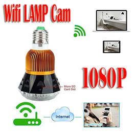 Wholesale Cmos Bulb Cctv Security Cameras - HD 1080P Spy Wifi Bulb Lamp IR CCTV Security Hidden Nanny Camera Recorder DVR for PC Android iOS T77