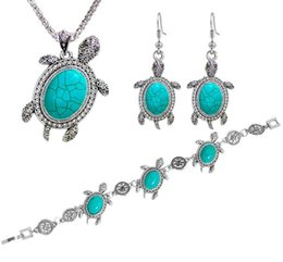 Accesorios collar azul para las mujeres online-Vintage Tone Animal Tortoise Jewelry Sets Blue Stone Pendientes Necklace Set Pulsera Mujeres Little Turtle Accessories