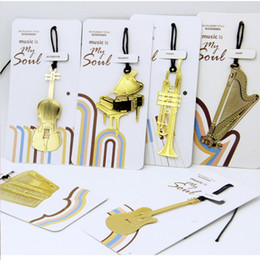 Wholesale Violin Antique - Exquisite Musical Instruments Bookmarks Metal Gold Plated Lanyard Bookmarker Guitar Harp Violin Mini Souvenir Hot Sale 1 1zs B R