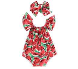 Wholesale Cute Baby Girls Outfits - Summer INS Cute Infant Watermelon Rompers Headband Newborn Baby Girls Sleeveless Backless Halter Romper Jumpsuit Cotton Sunsuit Outfit 0-24M