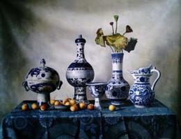 Peintures à l'huile vases en Ligne-Encadré, peint à la main chinois vases en porcelaine bleu et blanc lotus Wall Decor Art peintures à l'huile sur toile Multi tailles peuvent être personnalisés R96