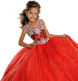 Wholesale Girls Green Pageant Dress Sequins - Sequins Straps Christmas Little Girls Pageant Dresses Custom Made Beads 2017 Fashion Princess Kids Children Party Gowns Flower Girl Dresses
